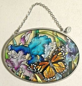 """Vintage Amia Studios Hand Painted Stained Glass Oval 4.5"""" x 3.25""""  -- 4617"""