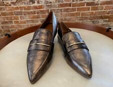 Franco Sarto Brushed Gold Leather Wynne Pointed Toe Loafer 7 New