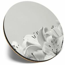 Round Single Coaster  - BW - Pretty White Lily Flowers  #35089