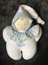 1030-Doudou poupée chiffon blanc bleu vichy -COROLLE 1998 -Très bon état