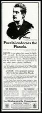 1912 Giacomo Puccini portrait Pianola piano Orchestrelle vintage print ad
