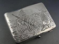 Russian 84 Silver Cigarette Case w/ Warrior & Horse scene crossroads ~7.16 troy