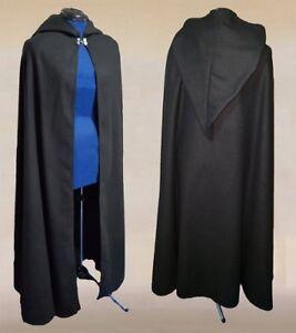 Halloween Costume Hooded Cape Black Adult Medieval Renaissance Long Cloak