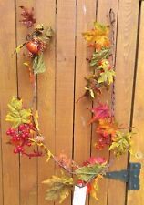 5' Fall Glitter Garland With Pumpkins Berries leaves