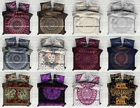 Indian Reversible Mandala Queen Bed Set Quilt Duvet Doona Cover Hippie Blanket