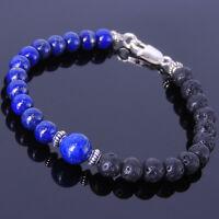 Men/Women Gemstone Bracelet Lapis Lava Rock 925 Sterling Silver Clasp DIY-KAREN