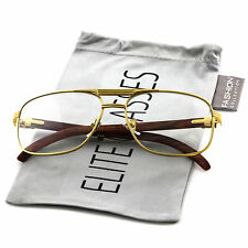 Elite WOOD Buffs Art Nouveau RETRO Rectangular Metal Frame Clear Lens EyeGlasses