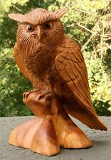 "12"" Large Wooden Owl Statue Hand Carved Sculpture Figurine Art Home Decor Gift"