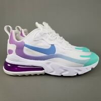 Nike Womens Air Max 270 React Running Shoes Size 5.5 Athletic White Purple Blue