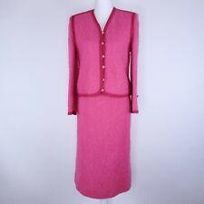 Vintage Castleberry Pink 2 Piece Suit Top Skirt Knit Dress Petites Size 10