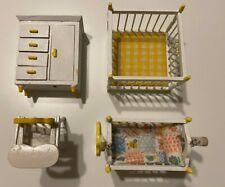 Nursery Set Set 4 Pc - 1970s Vintage Dollhouse Furniture Combined Shipping Crib