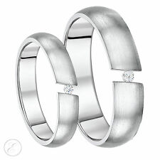 His & Hers Titanium Rings Tension Set Couple Wedding Rings 5mm & 6mm