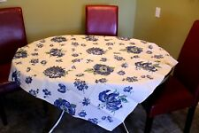 VINTAGE Kitchen TABLECLOTH 1940'S 48 x 50 Dead Stock Lancaster Mums Blue Green