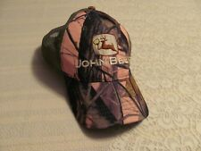 Womens JOHN BEER Baseball Hat John Deere Spoof Pink Camouflage Camo Mesh Snapbac