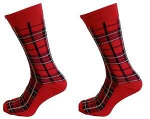 Mens 2 Pair Pack Red Tartan Retro Socks