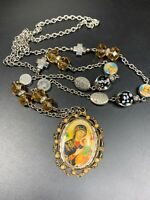 "Vintage Mary Jesus  Crystal Pendant Necklace Beaded Chain Catholic Christian 32"""