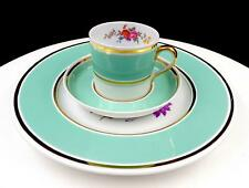 """COPELAND SPODE #Y5540 3PC AQUA BAND & FLORAL 2"""" CUP SAUCER LUNCHEON PLATE TRIO"""