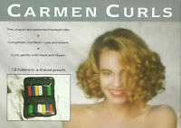 12 x Carmen Hair Curlers/Rollers In Travel Pouch Assorted Colours 23 mm & 20 mm
