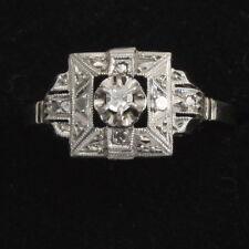 French Art Deco 18ct White Gold Platinum Diamond Type Stone Ring Size N
