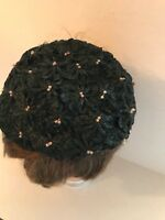 Womens Black Straw with Pink Beads Summer Hat SMALL