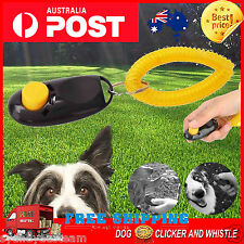 ** Dog Pet Puppy Click Clicker Training Obedience Trainer Aid Wrist Strap black