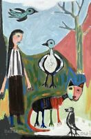 Girl Cat Birds Original Painting Landscape #1537 Abstract Figurative Art - Sari
