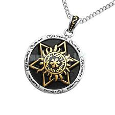 Gold Engraved Rune Hexagram Pendant Medieval Style Jewelry Punk Necklace