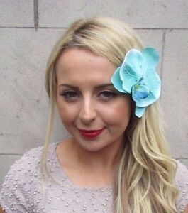 Large Mint Green Turquoise Orchid Flower Hair Clip Rockabilly Fascinator 3285