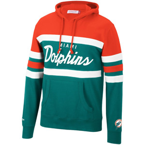 Men's Mitchell & Ness Org/Teal NFL Miami Dolphins Head Coach Hoodie - 5XL