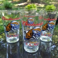 Budweiser Salutes U.S. Navy Pint Set of 4 Beer Glasses Galloping Ram Vintage EUC