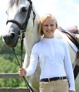 Kaki Girls English Horse Riding White Long Sleeve Show Shirt sz. 8 10 12 14 16