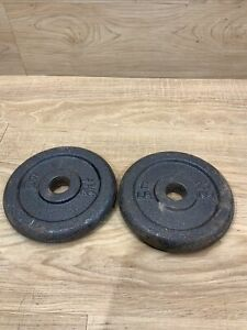 """Steel Barbell Weights Plates for 1"""" Bar 12lbs Lot Of 2 (6 LB)  2.7kg Cast Total"""