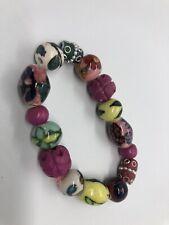Beaded Bracelet Boho Festival Lagenlook Bright Coloured Statement Chunky Pattern