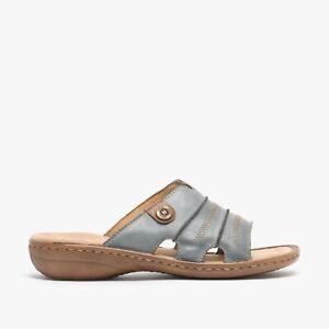 Rieker 60876-12 Womens Ladies Leather Open Toe Slip-On Mule Summer Sandals Blue