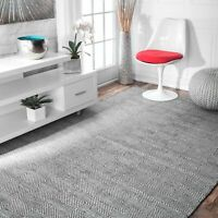 nuLOOM Hand Made Modern Geometric Diamond Cotton and Wool Area Rug in Gray