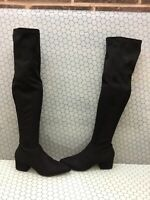 Steve Madden CARLI Black Fabric Side Zip Over The Knee Boots Women's Size 7.5 M