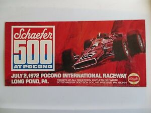 1972 Schaefer Beer 500 at Pocono Indy Mario Andretti Promotional Poster