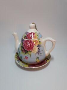 Teapot bird feeder Ceramic Blue Floral Design
