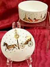 Studio Nova Golden Journey White Porcelain w/Gold Christmas Trinket/Jewelry Box