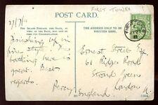 Islas del Canal Jersey 1911 PPC Fino Primera Torre cancelar Matasellos