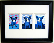 "FRAMED GEORGE RODRIGUE BLUE DOG ""CLOUDS"" TRIO  -  16"" x 13"""