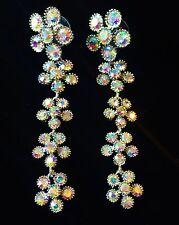 EARRING using Swarovski Crystal Dangle Drop Wedding Bridal Fancy Silver SW21 AB