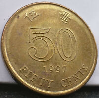 1997 Hong Kong 50c. Fifty cent coin. Free postage Australia.