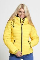 WOMENS LADIES PADDED PUFFER JACKET QUILTED WARM FUR COLLAR COAT PLUS SIZE 8-22