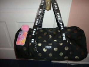 VICTORIA'S SECRET PINK SILVER BLING DOT CARRY ON TOTE BAG WEEKENDER W/ID POM NWT