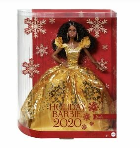 NEW HOLIDAY BARBIE DOLL 2020 GHT55 African American Gold Dress Black Curly Hair