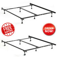 Adjustable Metal Bed Frame w/ Glides Rollers Universal Size Twin Full Queen King