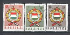 Hungary J07 used 1958 3v Coat of Arms