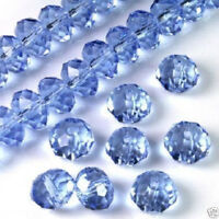 70  PCS , 6X8 mm Sky Blue  Faceted Crystal Gemstone Abacus Loose Beads
