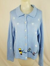 DISNEY STORE Blue Winnie The Pooh Piglet Christmas Cardigan Sweater Women Medium